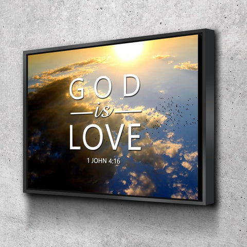 1 John 4:16 God is Love Bible Verse Wall Art Canvas