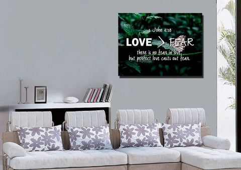 Image of 1 John 4:18 No Fear in Love Bible Verse Canvas Wall Art