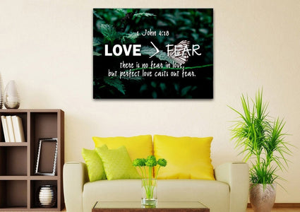 1 John 4:18 No Fear in Love Bible Verse Canvas Wall Art