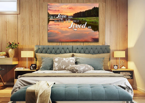 Image of 1 John 4:19 KJV He First Loved Us Bible Verse Canvas Wall Art