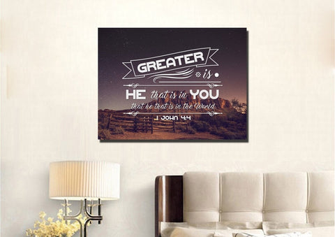 Image of 1 John 4:4 Canvas Wall Art Print