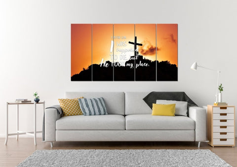 Image of 1 Peter 3:18 I was supposed to die,but he took my place Bible Verse Canvas Wall Art