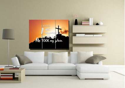 1 Peter 3:18 I was supposed to die,but he took my place Bible Verse Canvas Wall Art