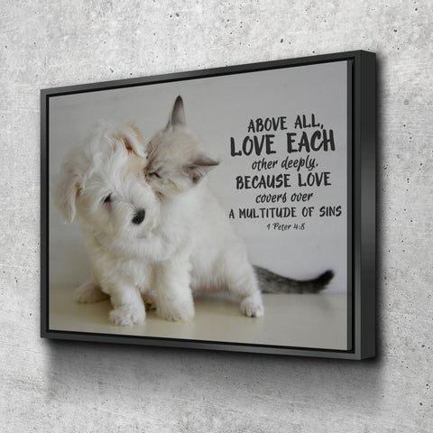Image of 1 Peter 4:8 Above All Love Each Other Bible Verse Canvas
