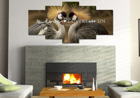 1 Peter 4:8 Love cover over sin Bible Verse Canvas Wall Art