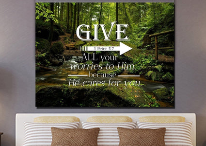 1 Peter 5:7 Give all your worries to him because he cares for you Bible Verse Canvas Wall Art