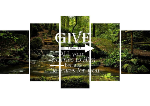 Image of 1 Peter 5:7 Give all your worries to him because he cares for you Bible Verse Canvas Wall Art