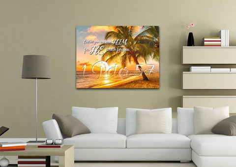 Image of 1 Peter 5:7 KJV Bible Verse Canvas Wall Art
