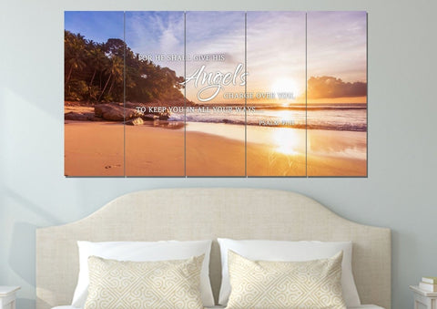 Image of #1 Psalm 91:11 Angels Charge Over You & Beach Sunrise Wall Art
