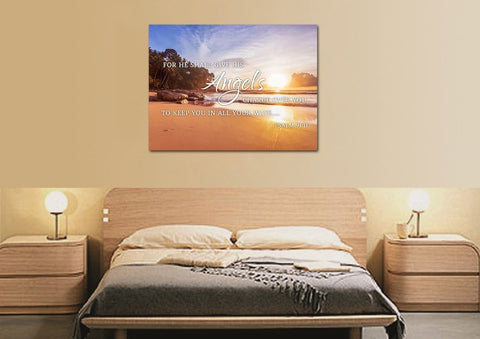 #1 Psalm 91:11 Angels Charge Over You & Beach Sunrise Wall Art