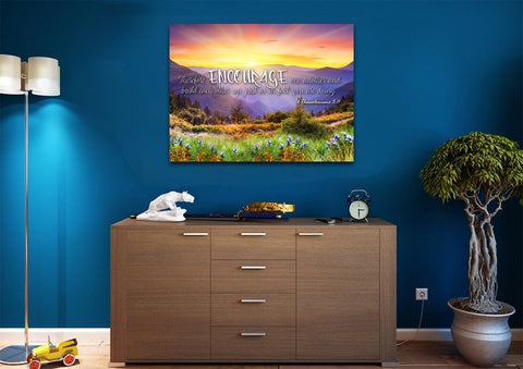 1 Thessalonians 5:11 NIV Encourage One Another Bible Verse Canvas Wall Art