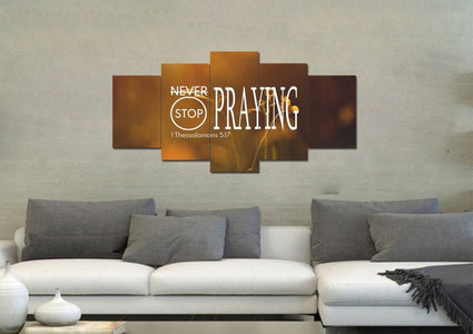 1 Thessalonians 5:17 Never stop Praying Canvas Wall Art Print