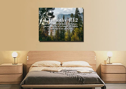 Image of 1 Timothy 4:12 Don't let anyone look down on you because you are young Bible Verse Wall Art Canvas