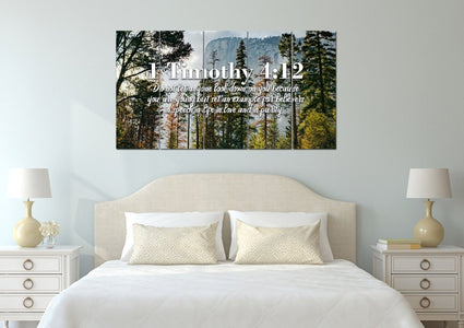 1 Timothy 4:12 Don't let anyone look down on you because you are young Bible Verse Wall Art Canvas