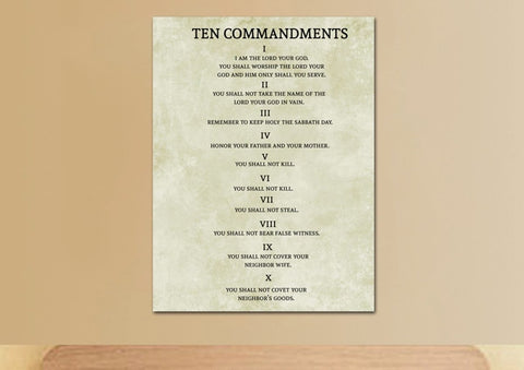 10 Commandments with Roman Numerals #6 Wall Art