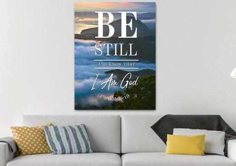 Image of #12 Clouds Above Mountains & Be Still Canvas Art