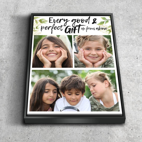 #16 Every Good & Perfect Gift Comes from Above Personalized Canvas