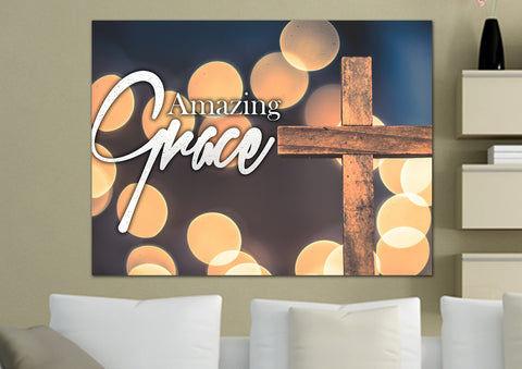 Image of Bokeh  & Cross #1 Amazing Grace Wall Art & Decor