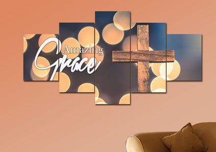 Bokeh  & Cross #1 Amazing Grace Wall Art & Decor