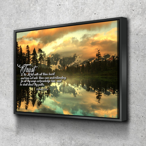 Image of  Floating Frame 1 Panel Proverbs 3:5-6 #32 KJV canvas
