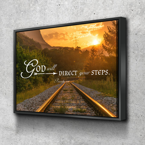 Proverbs 3:6 God will Direct your Steps Bible Verse Canvas Wall Art