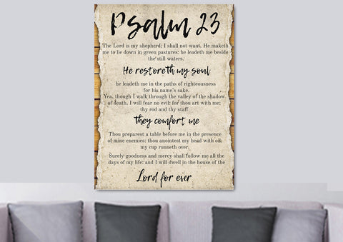 Image of #1 On a Scroll & Psalm 23 The Lord is my Shepherd Canvas Print