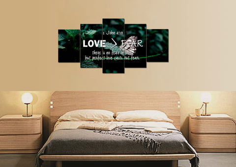 1 John 4:18 No Fear in Love Canvas Wall Art Print - Christian Walls
