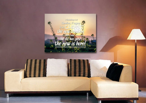 Image of 2 Corinthians 5:17 If Anyone is in Christ the New Creation has Come Bible Verse Canvas Wall Art