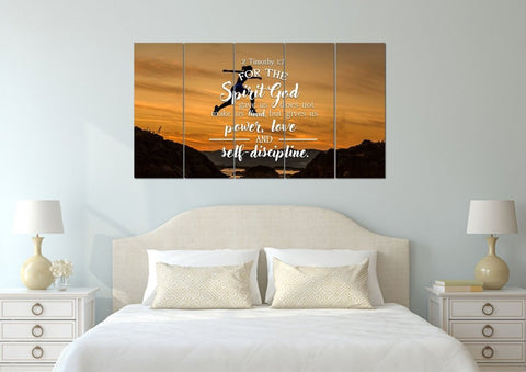2 Timothy 1:7 Spirit God Gave us does not make us Timid, but Gives us Power, Love and Self-Discipline Bible Verse Canvas Wall Art
