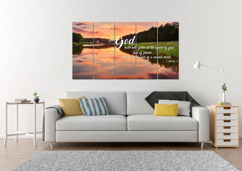 2 Timothy 1:7 KJV God Gave Us Power & Love Bible Verse Canvas Wall Art