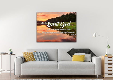 2 Timothy 1:7 NIV God Gave Us Power & Love Bible Verse Canvas Wall Art