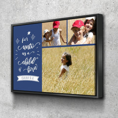 #20 For unto us a child is born Personalized Canvas