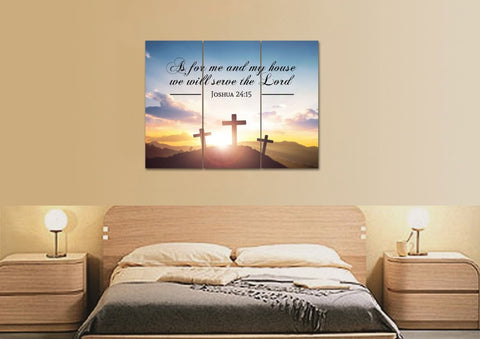 Image of 3 Crosses #3 As for Me and My House We will Serve the Lord Wall Art