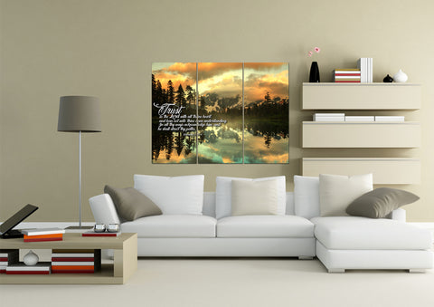 Image of 3 Panel Proverbs 3:5-6 #32  KJV wall art in living room above sofa