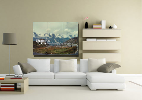 Proverbs 3:5-6 NIV #52 Bible Verse Canvas Wall Art