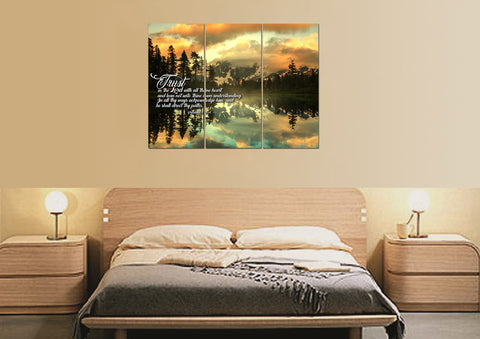 Image of 3 Panel Proverbs 3:5-6 #32  KJV wall art in bedroom above bed