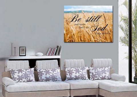 Image of #4 Wheat Fields & Be Still Canvas
