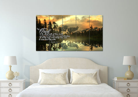 Image of Mega 5 Panel Proverbs 3:5-6 #32  KJV wall art in bedroom above bed