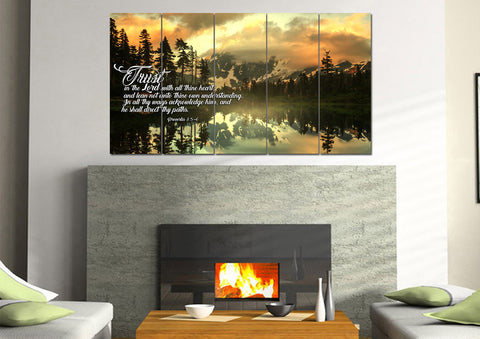 Image of Mega 5 Panel Proverbs 3:5-6 #32  KJV wall art in living room above fireplace