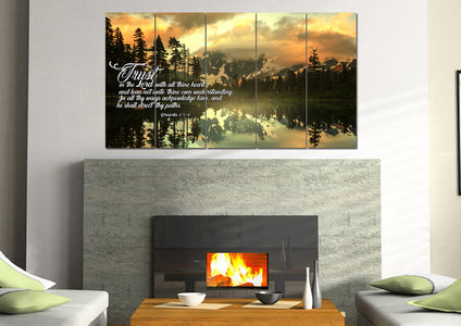 Mega 5 Panel Proverbs 3:5-6 #32  KJV wall art in living room above fireplace