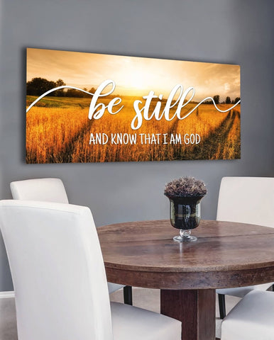 #7 Sunset Wheat Fields & Be Still Wall Art Canvas