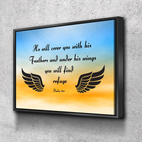 Image of #9 Blue Orange Feathers & Psalm 91:4