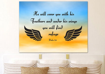 #9 Blue Orange Feathers & Psalm 91:4