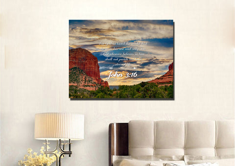John 3:16 NIV #21 Bible Verse Canvas Wall Art