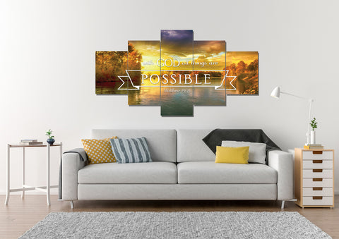 Matthew 19:26 #2 With God all things are Possible Canvas Wall Art Print