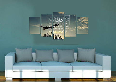 Proverbs 3 5 trust in the Lord with all thine heart 5 panel bible verse mock up wall art canvas 1