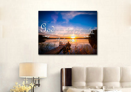 Psalm 46:1 God is our Refuge and Strength Canvas Wall Art Print