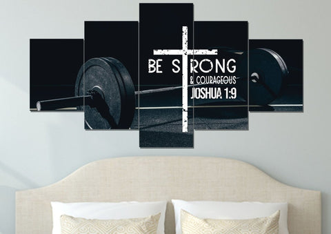 Image of Barbell #5 Joshua 1:9 Be Strong and Courageous Wall Art