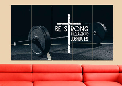 Barbell #5 Joshua 1:9 Be Strong and Courageous Wall Art