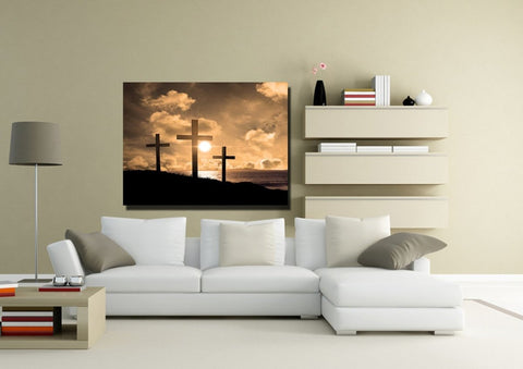 Image of Christian Cross at Sunrise Sunset #38 Canvas